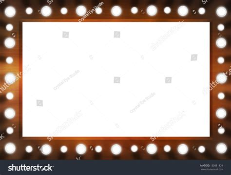 mirror with light border brown back stage light mirror white stock illustration