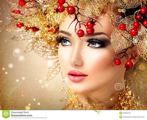 christmas winter fashion model girl stock photo image