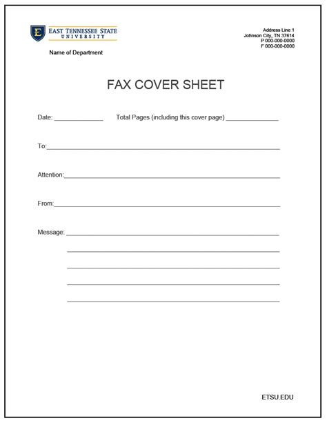 cover sheet for fax template template sle
