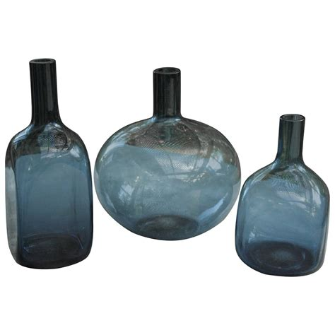 Decorative Jugs And Vases by Set Of Three Vintage Translucent Italian Blue Glass Vases