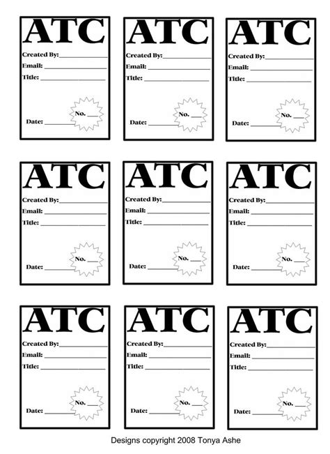 Artist Trading Cards Back Template by Atc Back Design Sheet No 2 Atc Cards Pocket Cards And