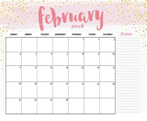 pretty calendar template 10 best february 2018 calendar template designs