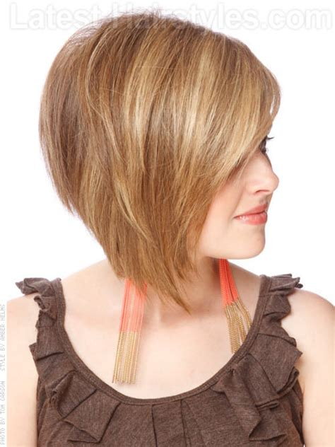 asymetrical ans stacked hairstyles asymmetric with attitude highlighted cut side view hair