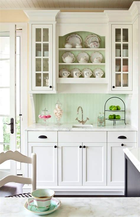French Country Kitchen Mint Green Paint Wall Color Hardware For White Kitchen Cabinets