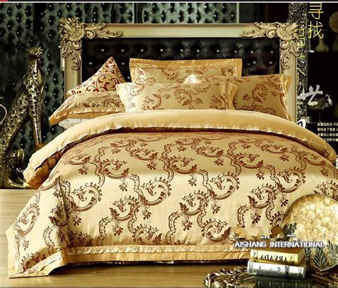 luxury jacquard comforter bedding sets 4pcs gold duvet
