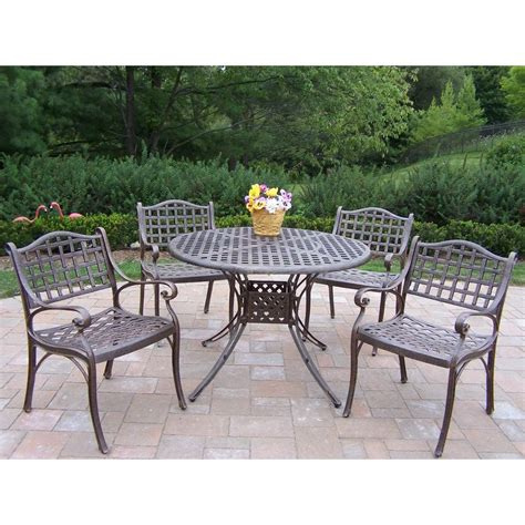 Oakland Living Elite 5 Piece Patio Dining Set 1102 1109 5 Patio Dining Sets Home Depot