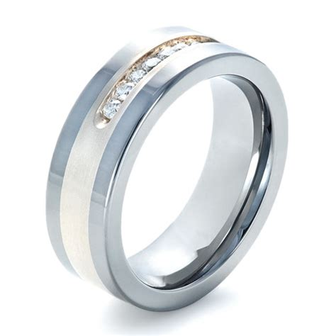 s two tone tungsten ring with diamonds 1355