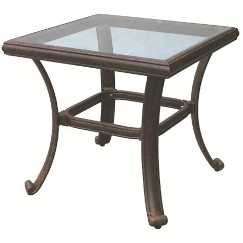 patio accent table darlee square patio end table with glass top in antique