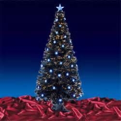festive 6ft 180cm black fibre optic crimbo xmas christmas tree w blue led stars ebay