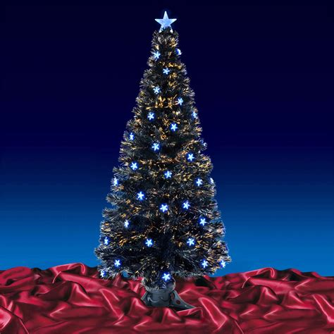 festive 6ft 180cm black fibre optic crimbo xmas christmas