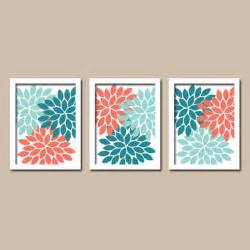 Coral Color Bathroom Decor Bathroom Decor Teal Coral Aqua Wall Art Canvas Or By Trmdesign