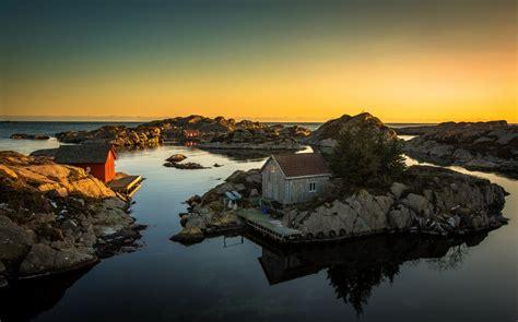 wallpaper rocky shore sunset  nature