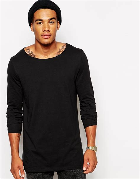 boat neck long sleeve t shirt lyst asos long sleeve t shirt with boat neck in longline