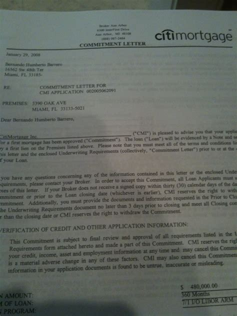 Commitment Letter For Fha Loan Letter Of Commitment