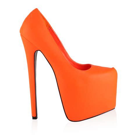 seven inch high heels new womens neon orange platform stiletto 7 inch