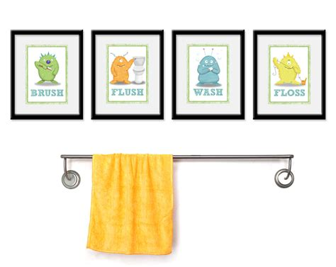 wall art bathroom decor kids bathroom art children s wall decor monsters for the