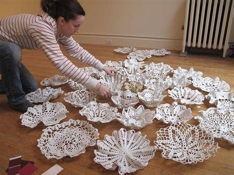 doily craft projects doilys dipped in porcelain slip draped bowl form and