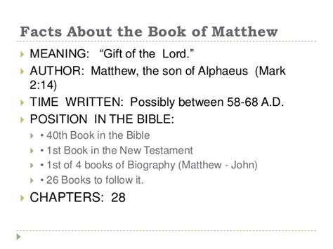 Information About Mat by The Book Of Matthew