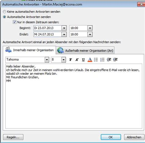 Nachricht Schreiben Muster Outlook Abwesenheitsnotiz Einrichten Anleitung Giga