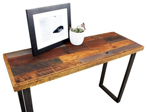 Wood Hallway Table Reclaimed Patchwork Wood Table With Metal Legs Industrial Console Tables By What We Make