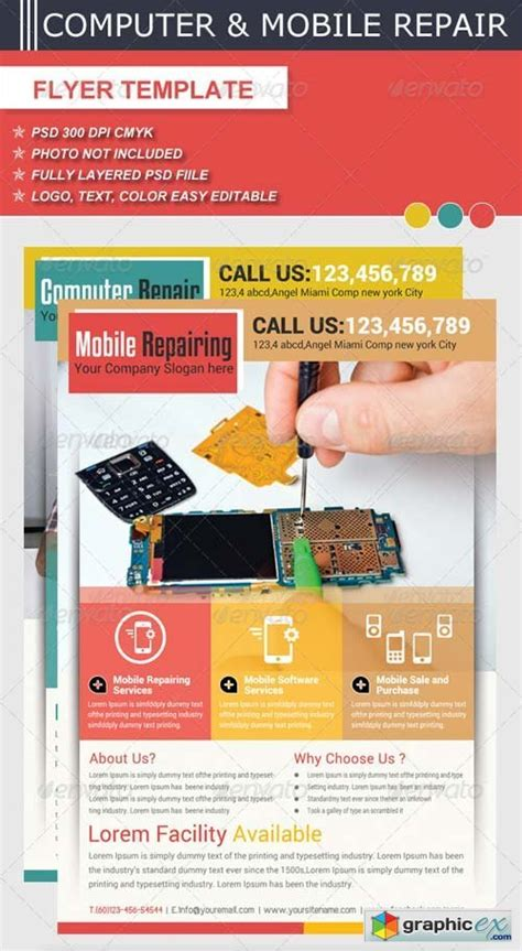 computer mobile repair flyer template 187 free download