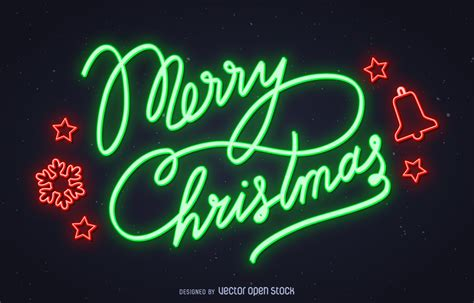 bright neon sign   merry christmas  green   drawn elements  red colors