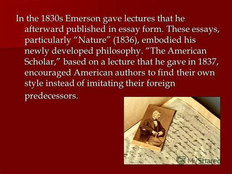 Emerson Essays And Lectures by презентация на тему Quot Ralph Waldo Emerson 1803 1882 Emerson Was Born In Boston