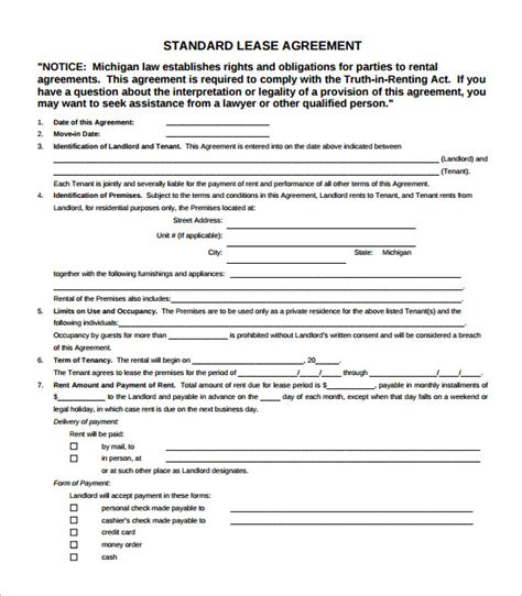 simple lease agreement templates