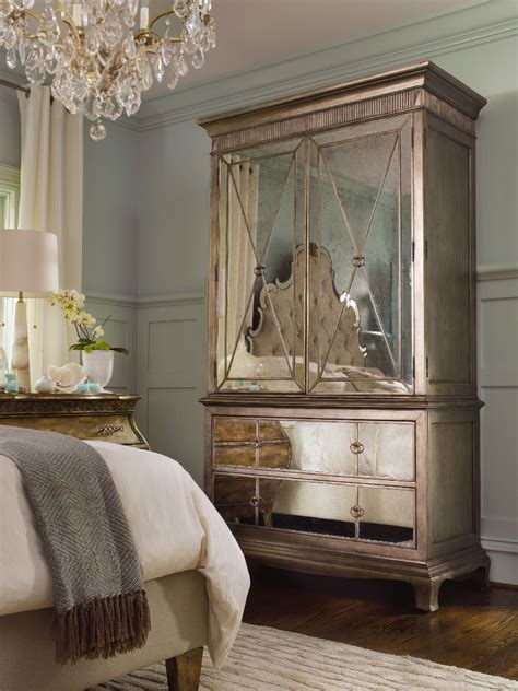 mirrored armoire furniture hooker furniture bedroom sanctuary armoire visage 3016