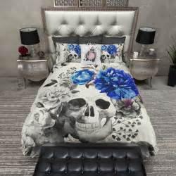 flower skull comforter royal blue flower watercolor skull duvet bedding sets