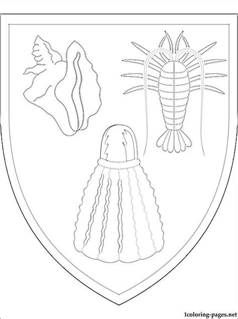 turks  caicos islands coat  arms coloring page