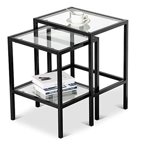 nesting end tables living room yaheetech set of 2pcs glass nesting tables living room