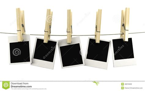 Print Hanging Frame retro photo frame hanging on a on wooden clothespins stock photo image of distinct