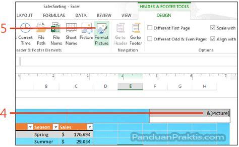 cara membuat header di excel 2013 cara menambahkan gambar pada header atau footer di excel 2013