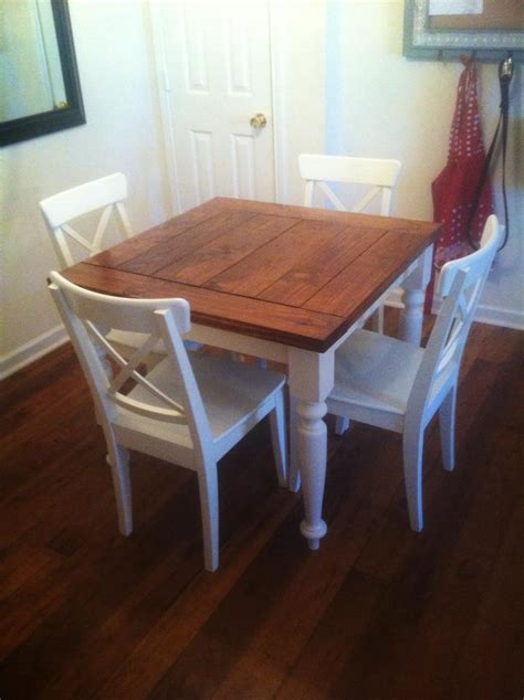 small square kitchen table white square turned leg farmhouse kitchen table