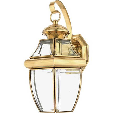 Shop Quoizel Newbury 14 In H Polished Brass Outdoor Wall Outdoor Brass Lights
