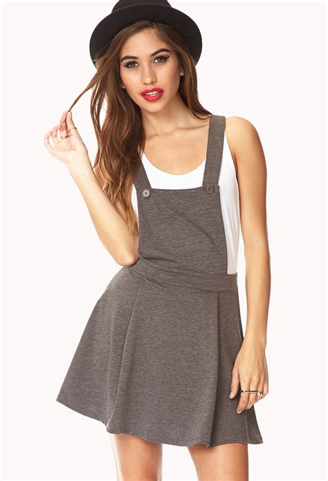 Dress Overall lyst forever 21 no fuss overall dress in gray
