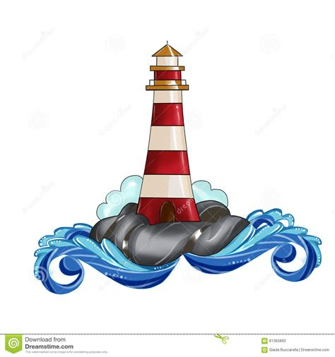 lighthouse clip illustration watercolor stock