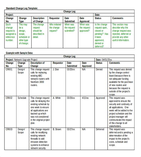 Log Templates 15 Free Word Excel Pdf Documents Download Free Premium Templates Change Log Template Project Management