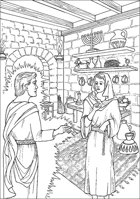 Angel Appears to Mary - Coloring Page