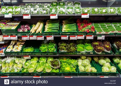 Shelf Of Refrigerated Foods by Shelf With Food In A Supermarket Refrigerated Salad Vegetables Stock Photo Royalty Free