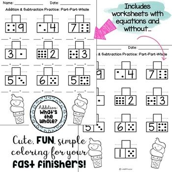 addition and subtraction of whole addition subtraction worksheets part part whole