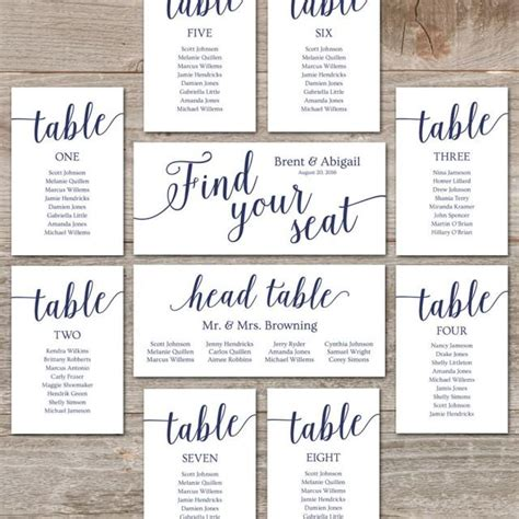 Wedding Seating Chart Template Diy Seating Cards Editable Seating Chart Printable Navy Wedding Seating Place Cards Template