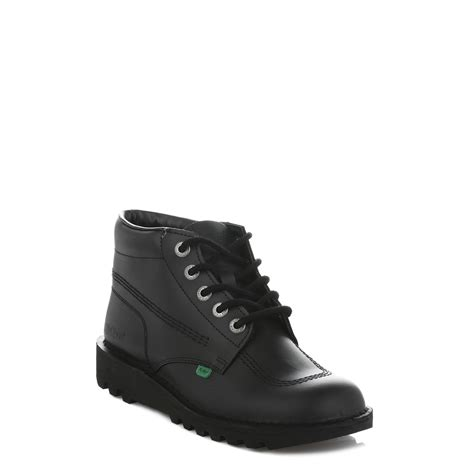 Kickers Shoes 7 kickers kick hi boys black leather ankle boots