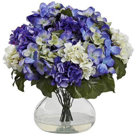 artificial flower centerpieces for wedding blue purple hydrangea silk flower centerpiece