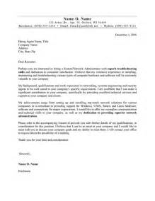 It Administrator Cover Letter by Systems Administrator Cover Letter Exle