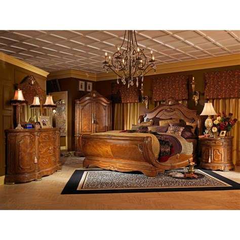king size sleigh bedroom sets aico cortina king size sleigh bedroom set in honey walnut finish the furniture depot king size