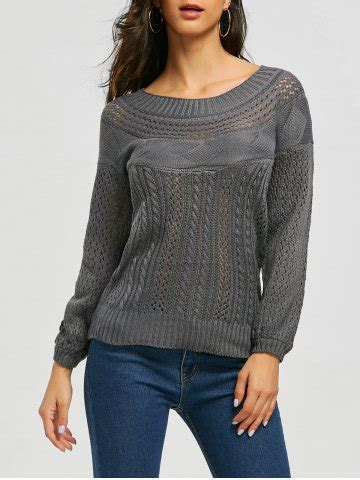 boat neck sweater outfit gray xl chic boat neck long sleeve pure color women s