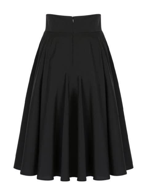 black high waist midi skater skirt choies