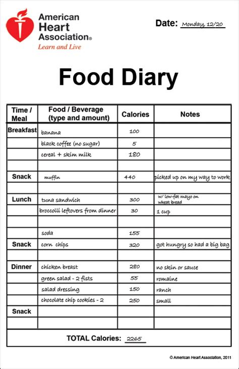 printable food diary form food journal